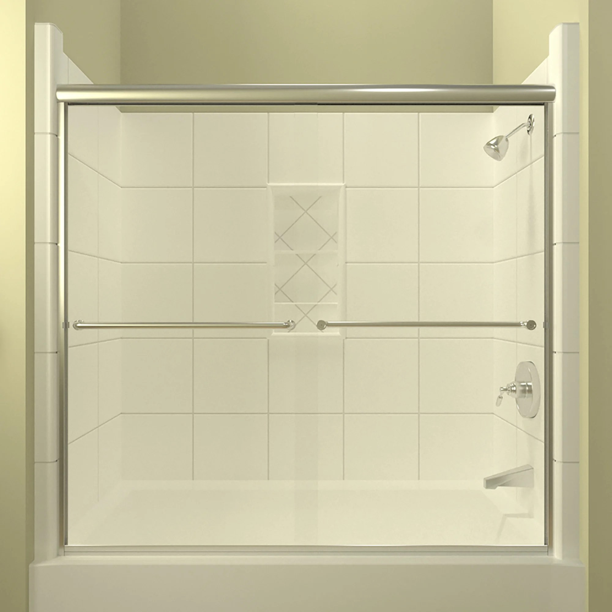 Details About Ete 72 X 57 38 Bypass Semi Frameless Tub Door Polished Chrome 0 25
