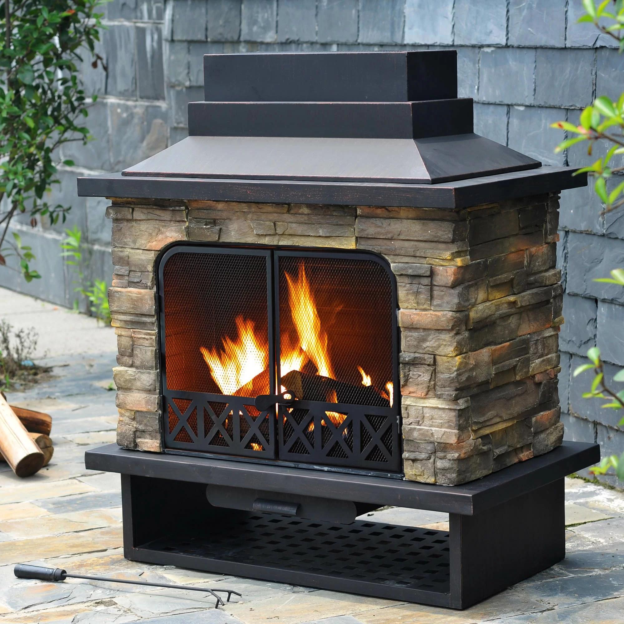 Sunjoy Felicia Steel Wood Outdoor Fireplace & Reviews ... on Quillen Steel Outdoor Fireplace  id=12329