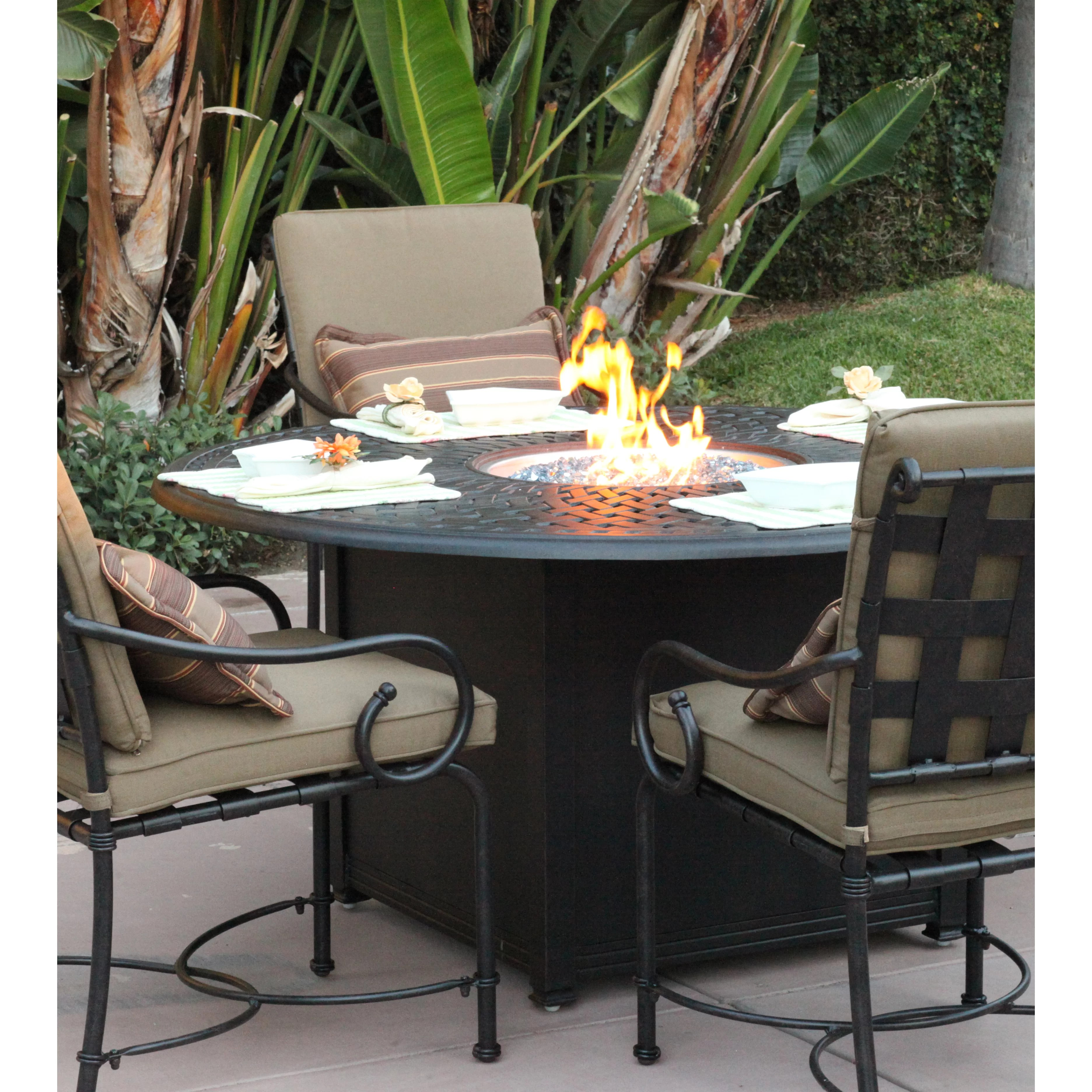 Darlee Series 60 Fire Pit Table & Reviews | Wayfair on Outdoor Dining Tables With Fire Pit id=81782