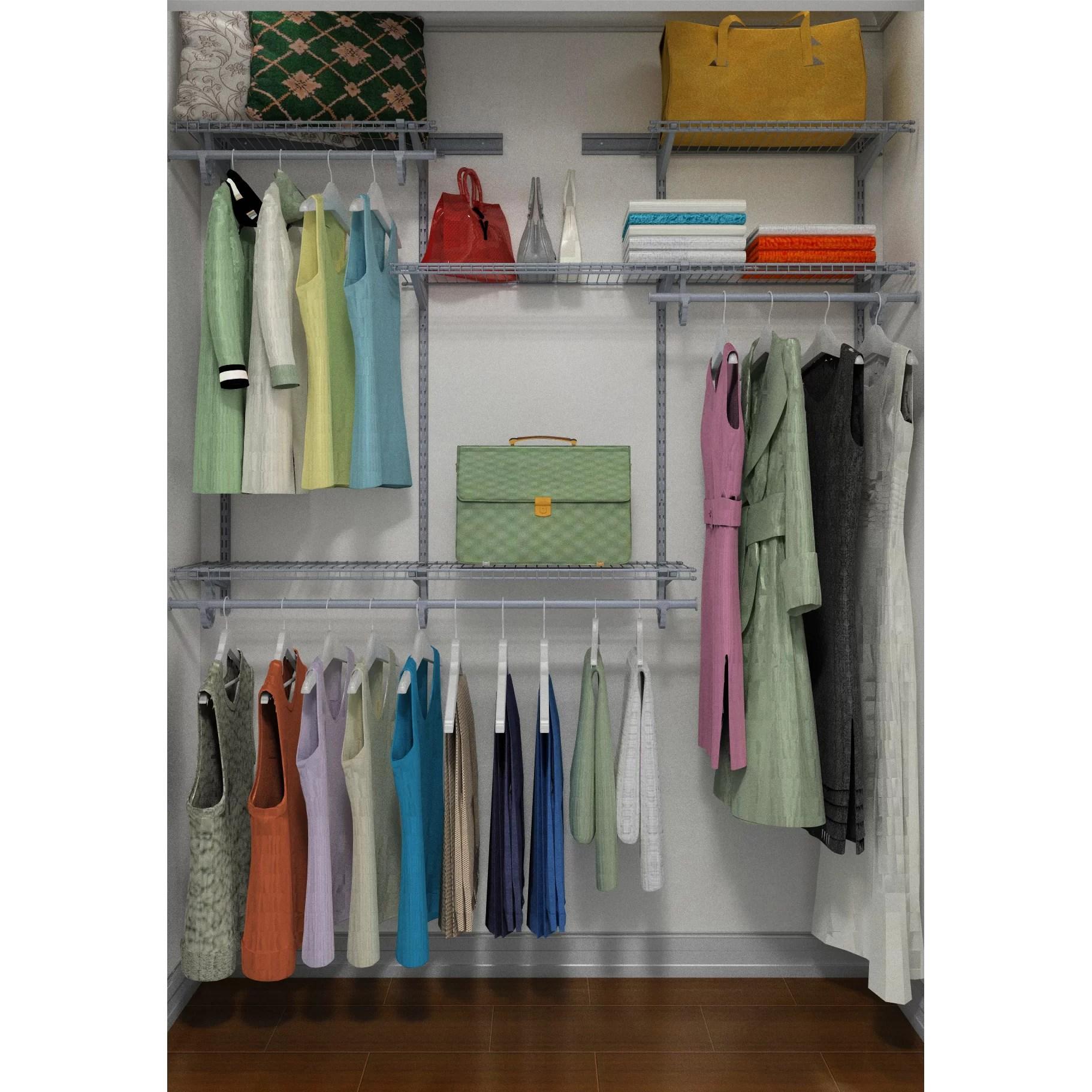Closet Anizer Kit Satin Chrome Lowes Systems With. Closet Maid Shelving S Closetmaid  Shelftrack System ...