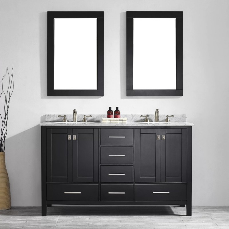 60 Black Double Vanity Set with Mirror