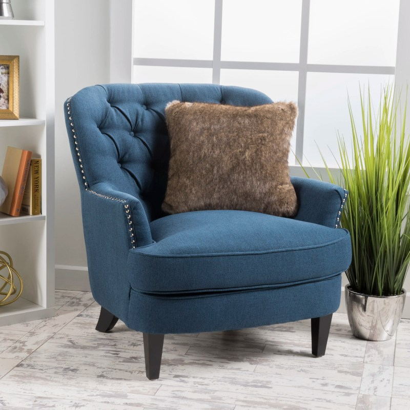 Tufted Upholstered Linen Club Chair