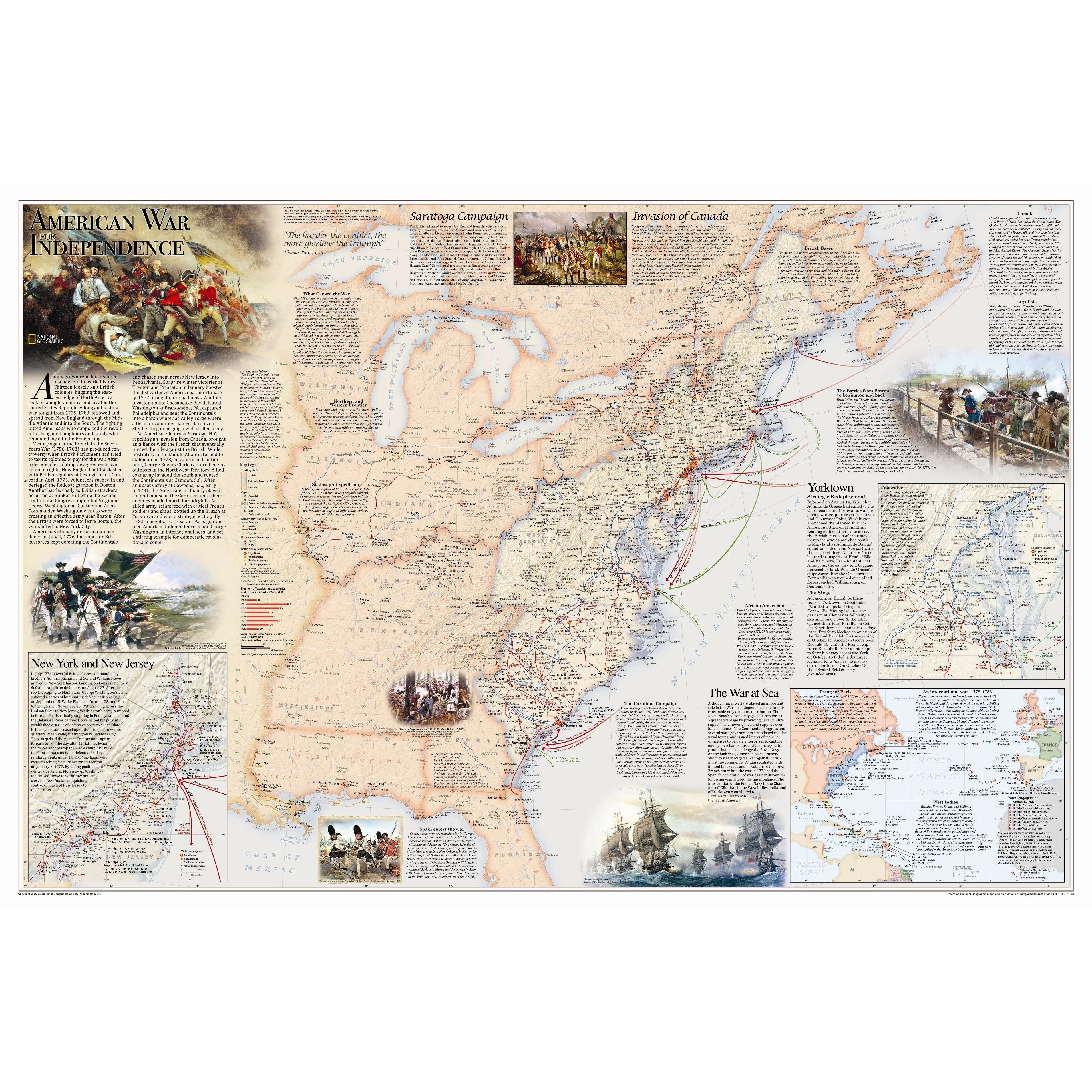 National Geographic Maps Battles Of The Revolutionary War