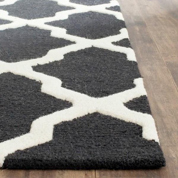 Sandra Black Amp Ivory Geometric Wool Hand Tufted Area Rug