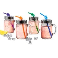 Oasis Mason Jar with Lid and Straw (Set of 4)