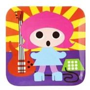 "Rock Star 8"" Melamine Kids Plate 4 Piece Set (Set of 4)"