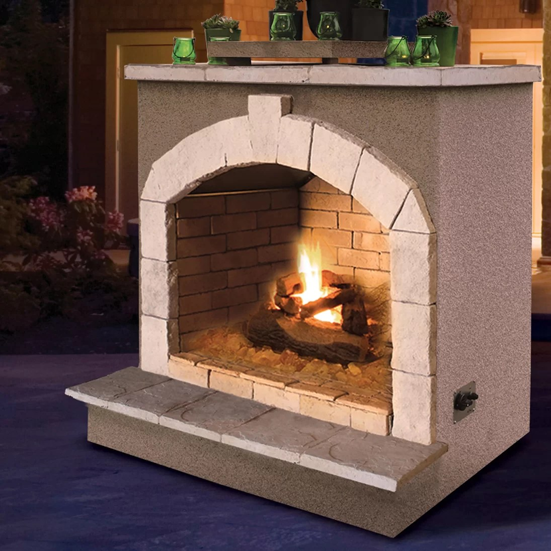 CalFlame Propane Gas Outdoor Fireplace & Reviews   Wayfair on Outdoor Gas Fireplace For Deck id=45414