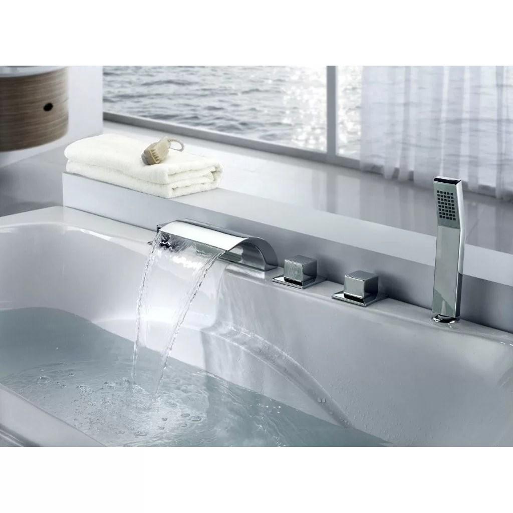 Sumerain Triple Handle Deck Mount Waterfall Tub Faucet