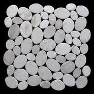 Coin Random Sized Natural Stone Pebble Tile in White