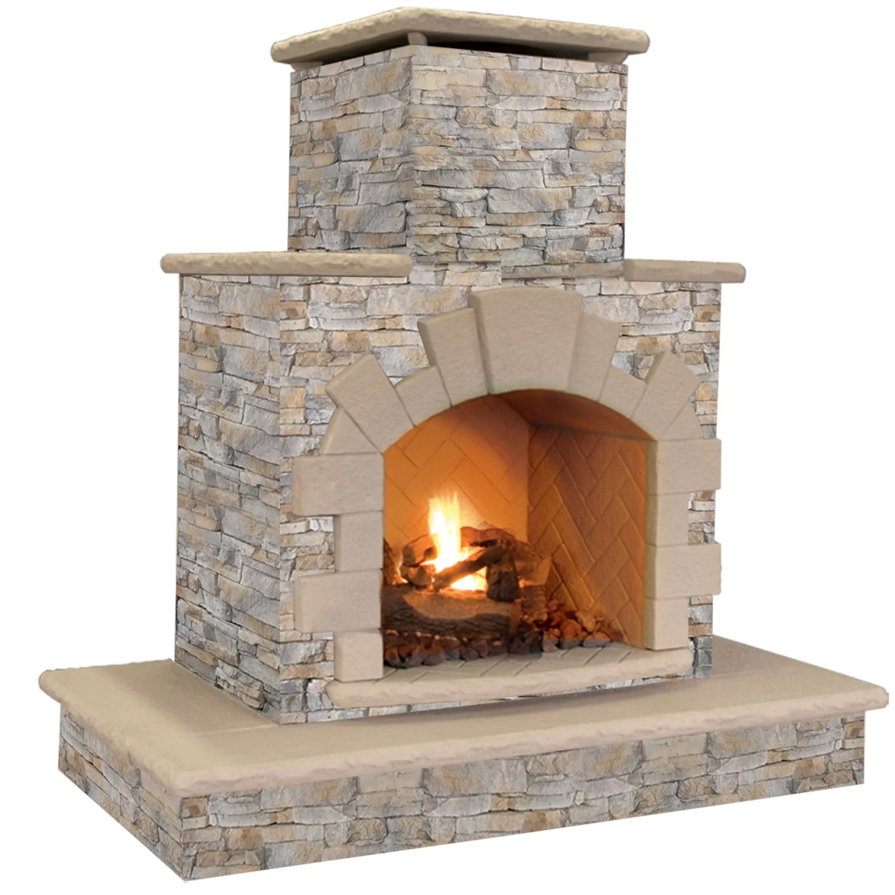 CalFlame Natural Stone Propane / Gas Outdoor Fireplace ... on Outdoor Gas Fireplace For Deck id=64308