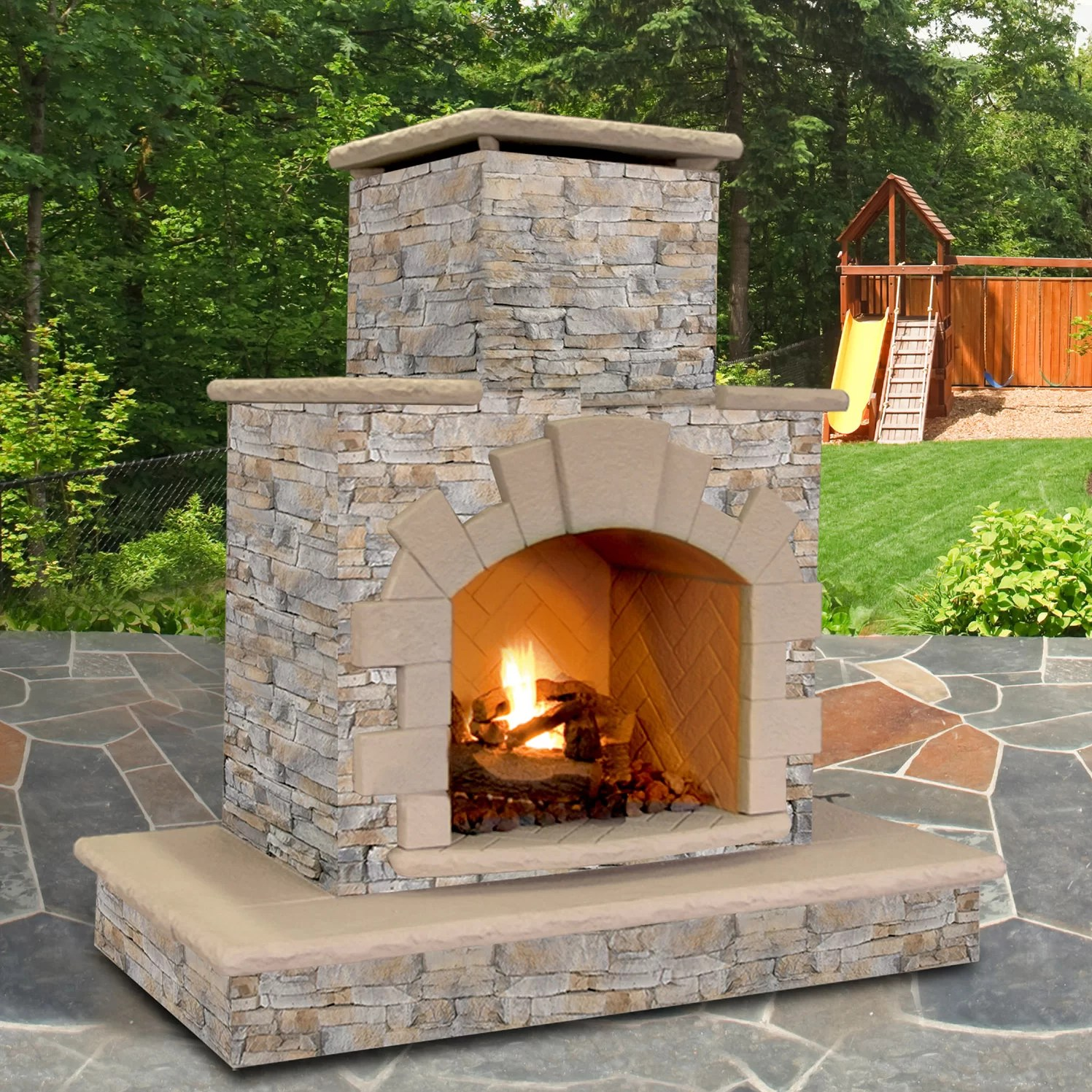 CalFlame Natural Stone Propane / Gas Outdoor Fireplace ... on Outdoor Gas Fireplace For Deck id=62100