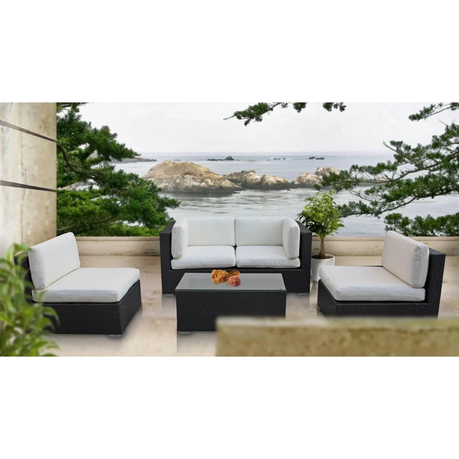 Modway Delight 5 Piece Outdoor Patio Sectional Set ... on 5 Piece Sectional Patio Set id=55061
