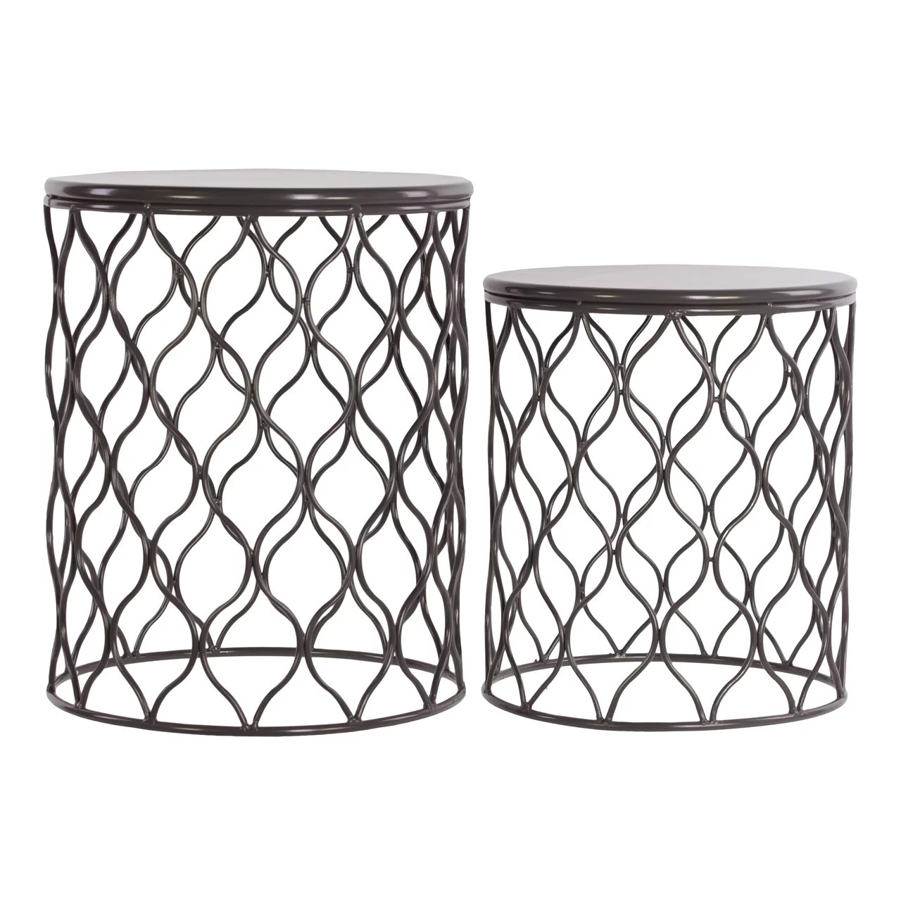 2 Piece Metal Round End Table Set