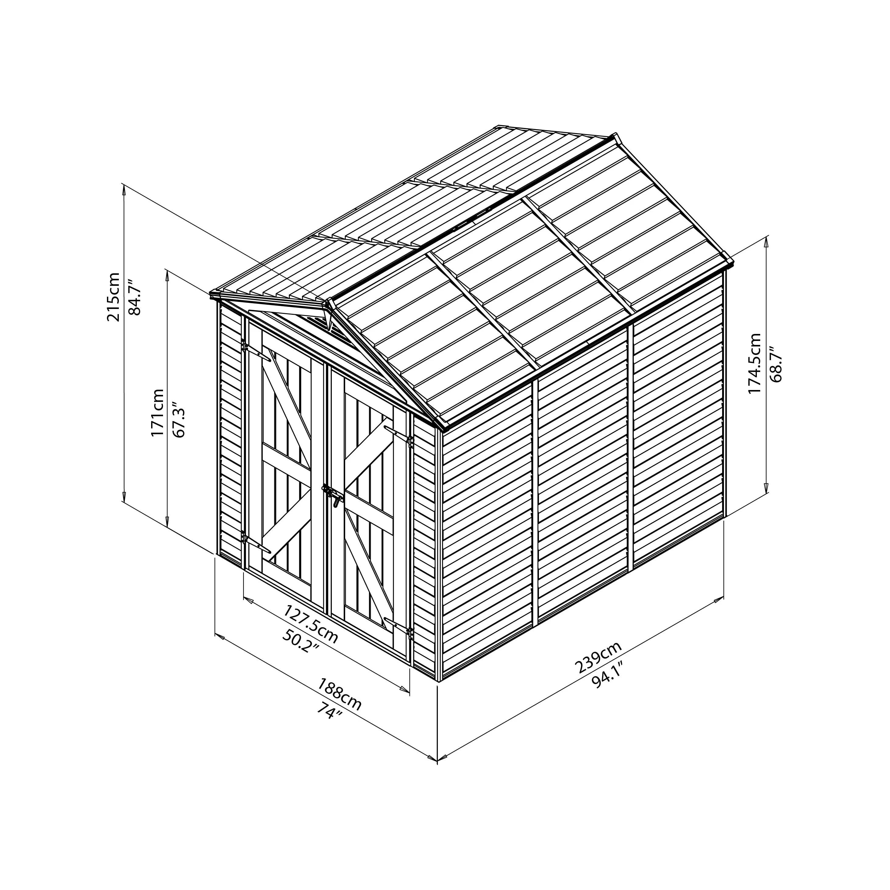 Palram Skylight 6 Ft W X 8 Ft D Polycarbonate Storage