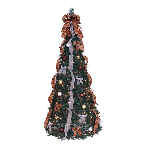 The Holiday Aisle Pop Up 6 Green Artificial Christmas Tree With 350 Lights Reviews Wayfair