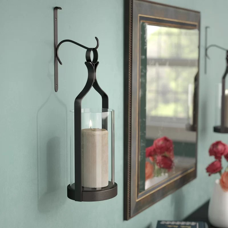 Three Posts Glass Wall Sconce & Reviews | Wayfair on Wall Mounted Candle Sconce id=63253