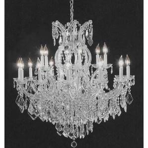 Alvarado 16 Light Silver Chain Crystal Chandelier