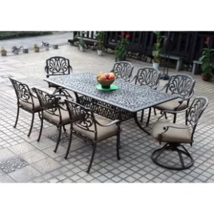 Metal Patio Furniture You ll Love   Wayfair Lebanon 9 Piece Dining Set with Cushions
