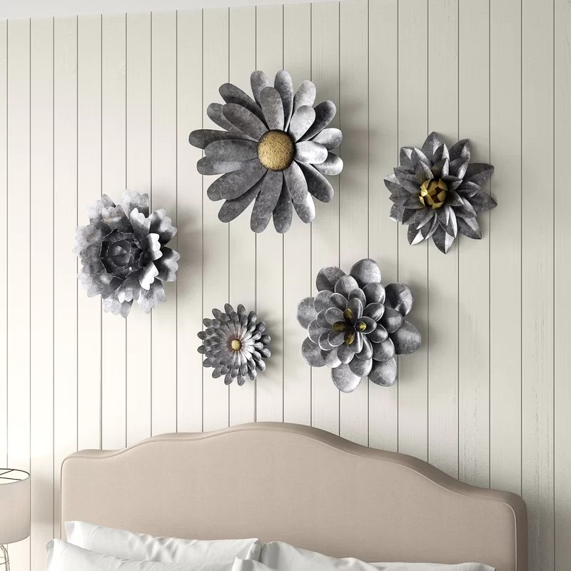 Gracie Oaks 5 Piece Galvanized Metal Flower Hanging Wall ... on Hanging Wall Sconces For Flowers id=74939