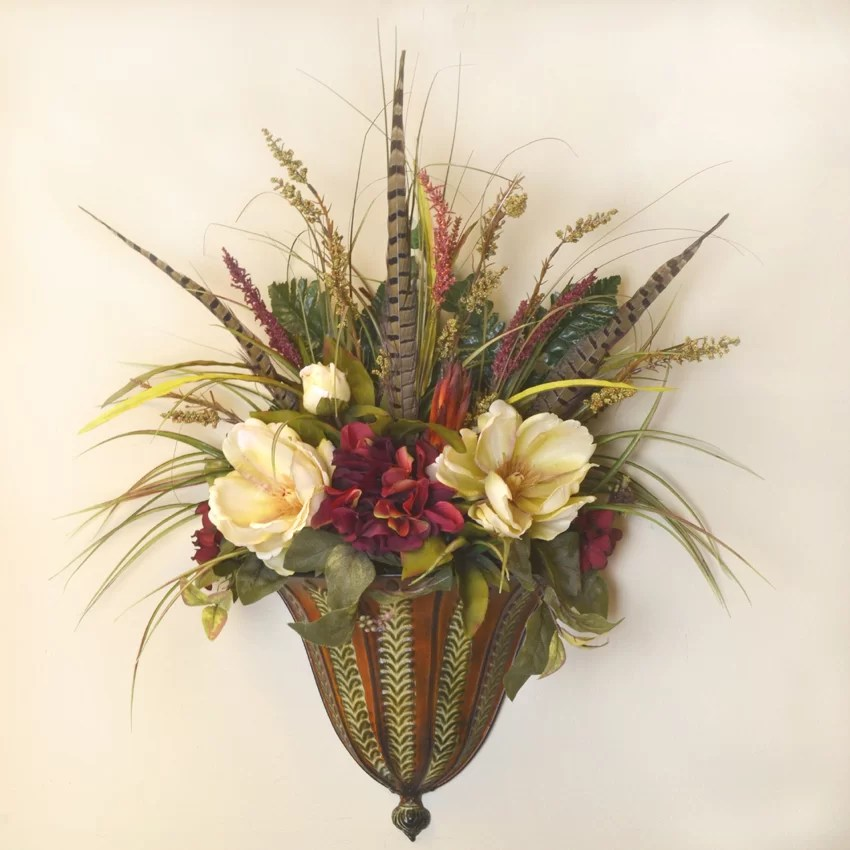 Floral Home Decor Faux Magnolia and Feather Wall Sconce ... on Flower Wall Sconces id=44868