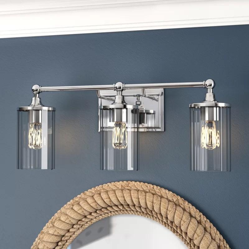 Beachcrest Home Hague 3-Light Vanity Light with Clear ... on Wayfair Bathroom Sconces id=37734