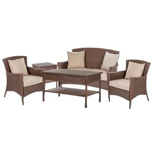 Rattan French Bistro Chairs   Wayfair Simoneau Provencal 5 Piece Rattan Sofa Set with Cushions