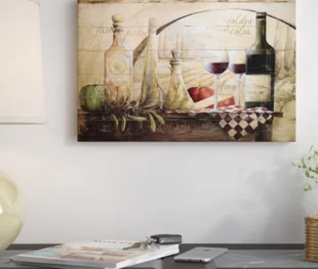 Tuscan Vineyard Wine Graphic Art Print On Canvas