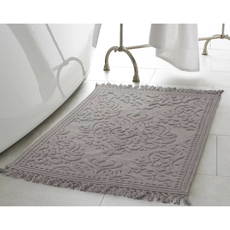 bungalow rose angelena cotton fringe 2 piece bath rug set