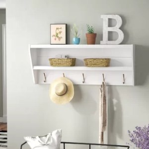 Entryway Shelf With Hooks   Wayfair Save