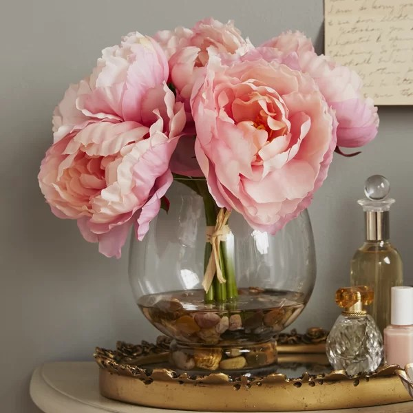 Ophelia Amp Co Peonies In A Glass Vase With River Rocks And