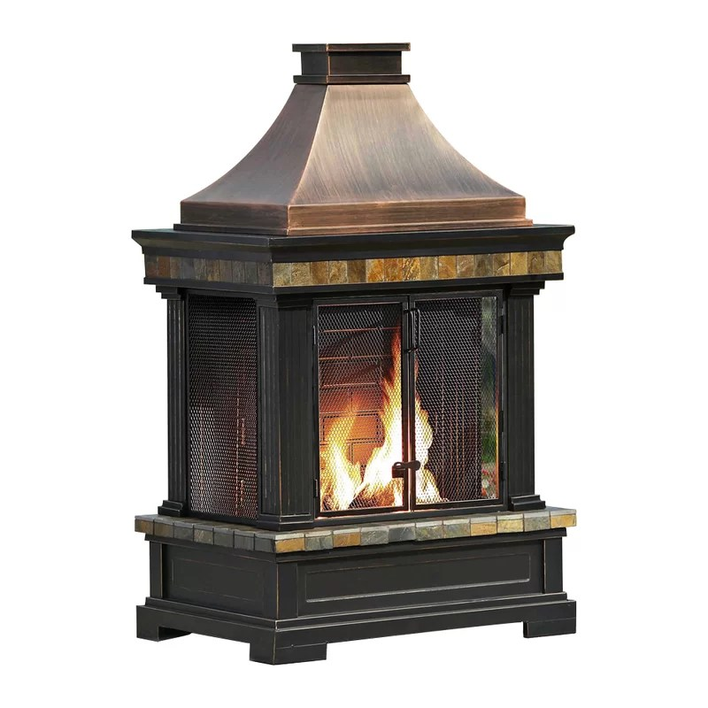 Sunjoy Brownston Steel Wood Burning Outdoor Fireplace ... on Quillen Steel Outdoor Fireplace  id=67888