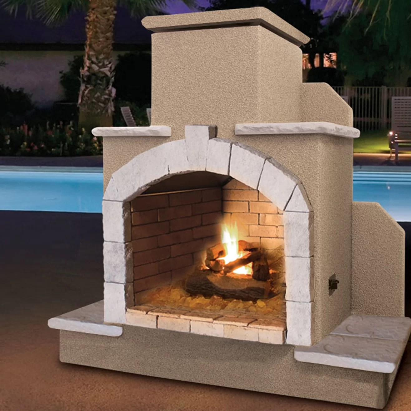 Cal Flame Steel Gas Outdoor Fireplace & Reviews | Wayfair on Quillen Steel Outdoor Fireplace id=76630