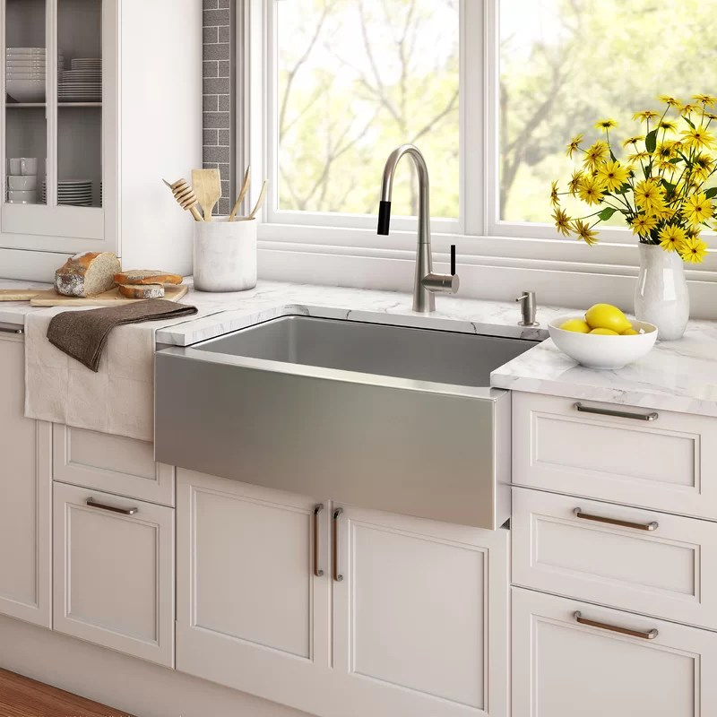 kraus 33 x 21 farmhouse kitchen sink with drain assembly on kitchens with farmhouse sinks id=82636