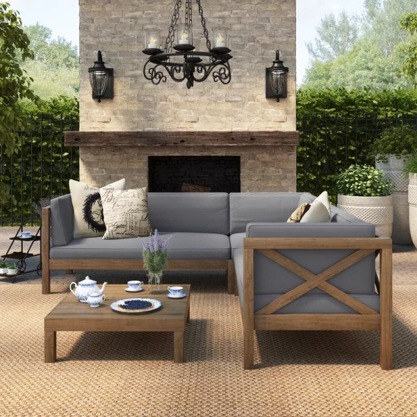 outdoor patio furniture sale Lark Manor Lejeune 4 Piece Sofa Set with Cushion & Reviews