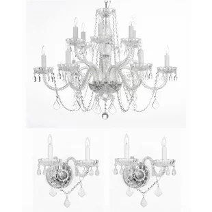 Anthony 3 Piece Crystal Chandelier And Wall Sconces Lighting Set
