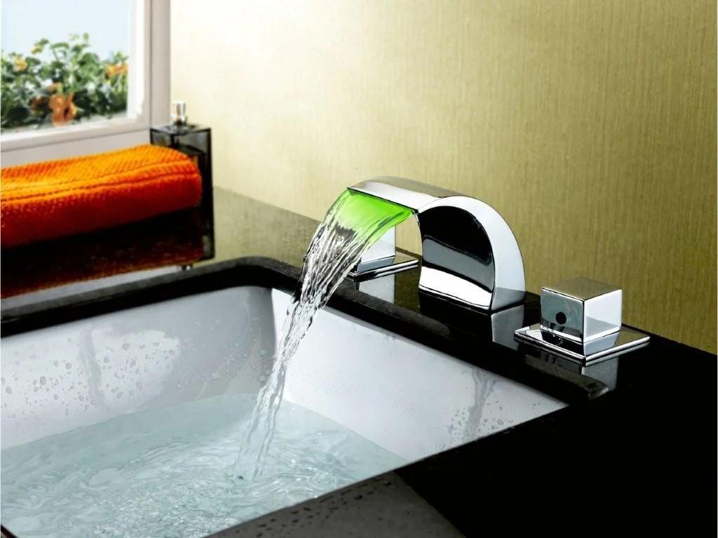 sumerain double handle widespread led waterfall bathroom sink