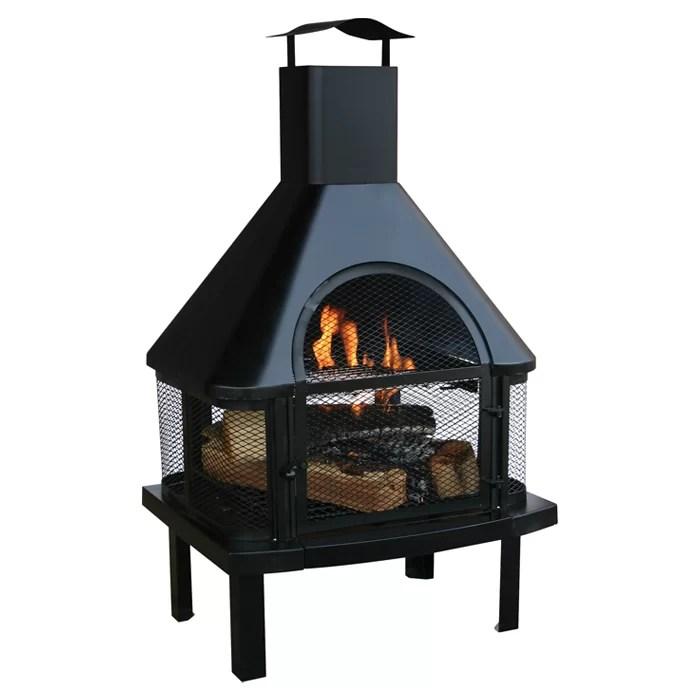 Uniflame Steel Wood Burning Outdoor fireplace & Reviews ... on Quillen Steel Outdoor Fireplace  id=58588