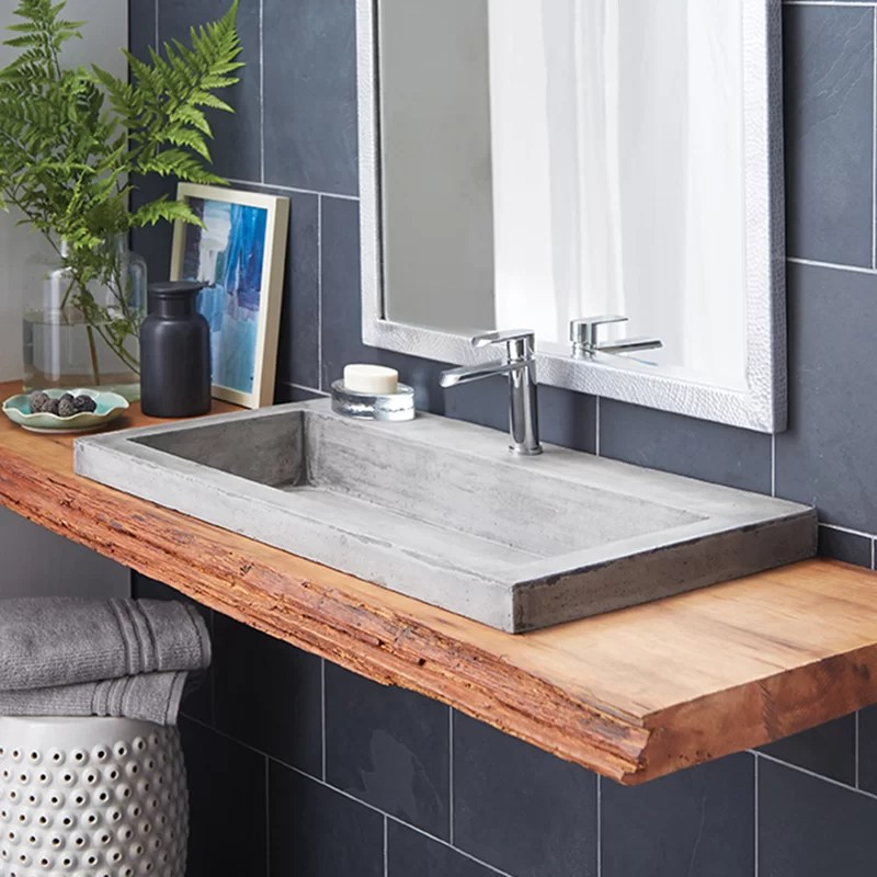 native trails trough stone rectangular drop-in bathroom sink