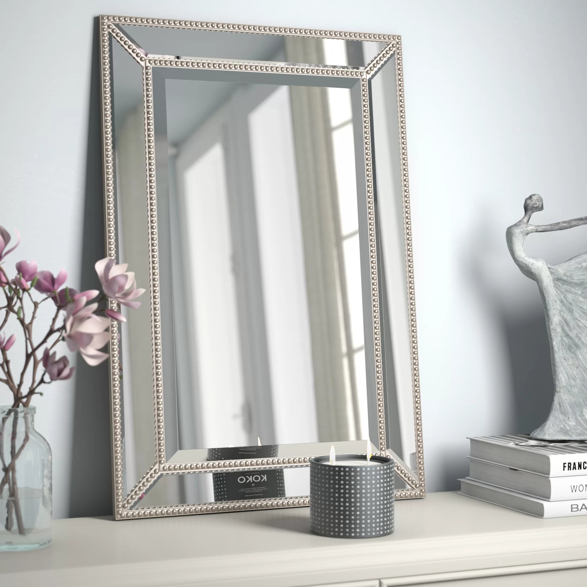 Wall Mirrors Beveled Beaded Accent Wall Mirror