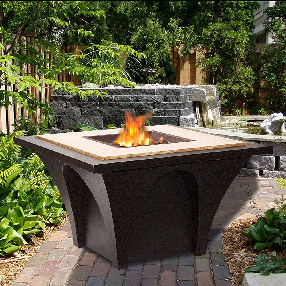 Sunjoy Revel Aluminum Wood Burning Fire Pit table ... on Outdoor Dining Tables With Fire Pit id=31788