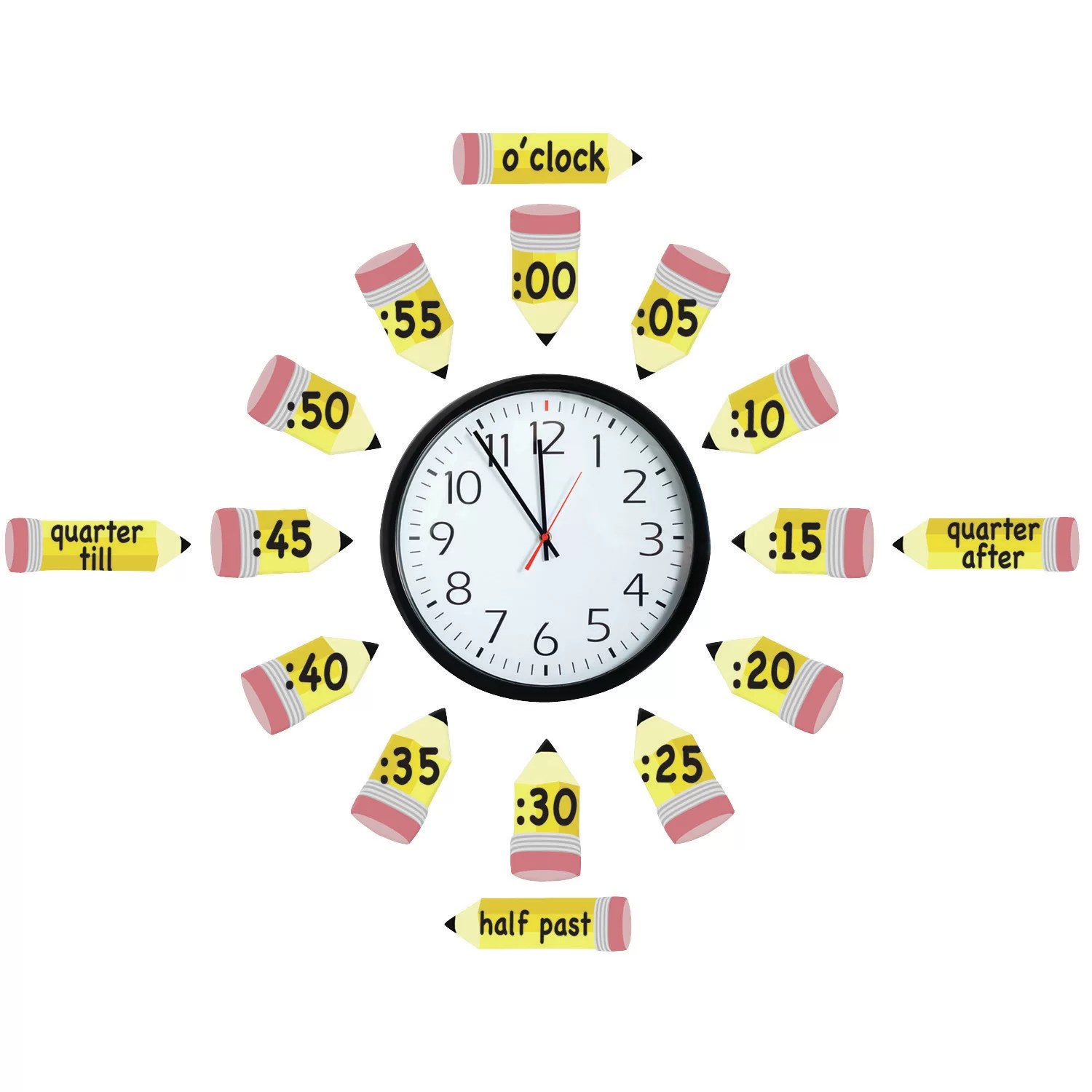 Eureka Classroom Telling Time Set Bulletin Board Cut Out