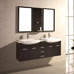 """kokols 60"""" double floating bathroom vanity set with mirror and"""