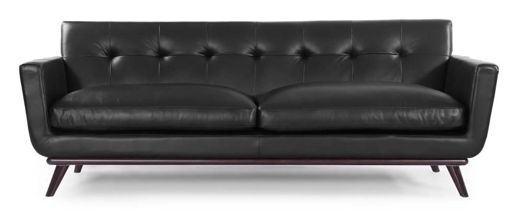 Corrigan Studio Luther Mid Century Modern Vintage Leather Sofa