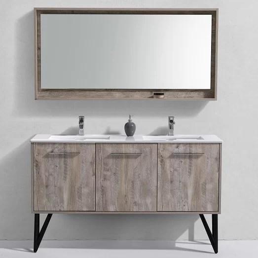 ellison nature wood 59 double bathroom vanity set with mirror