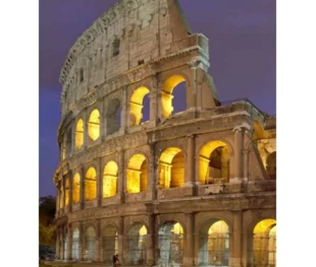 Roman Colosseum At Night Photographic Print On Canvas