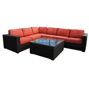 Rattan Indoor Recliner   Wayfair Santa Monica 5 piece Sunbrella Sectional Set with Cushions  By Teva  Furniture