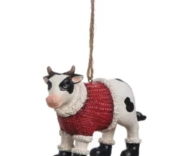 Cow Holiday Hanging Figurine