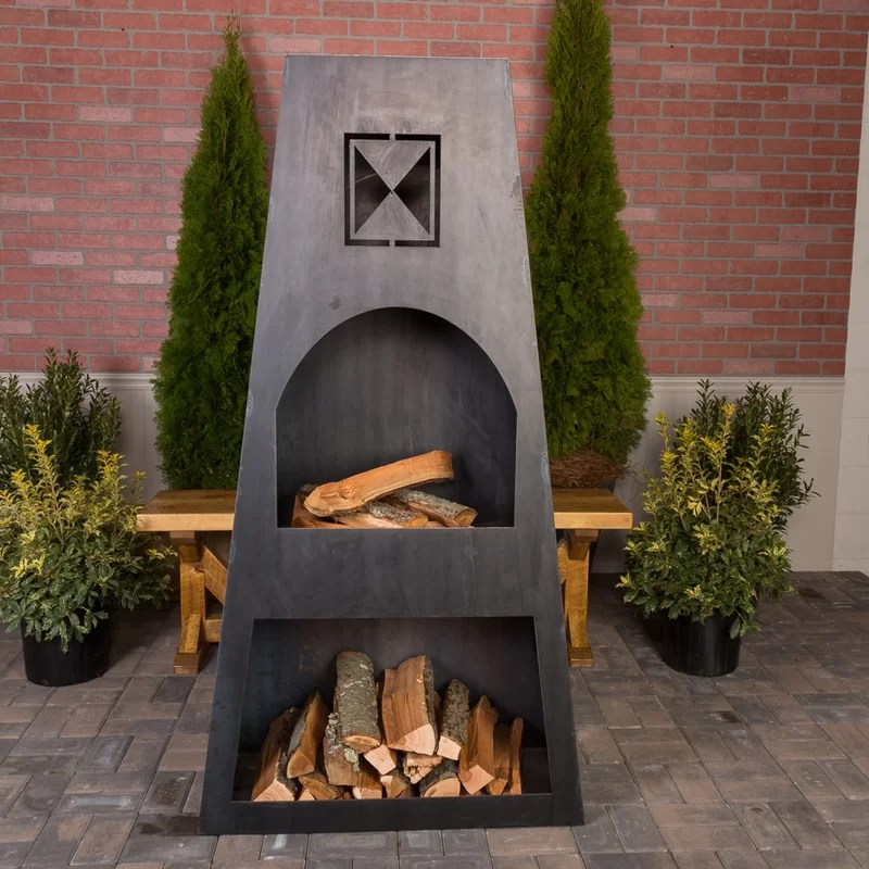 Ember Haus Fire Knight Steel Wood Burning Outdoor ... on Quillen Steel Outdoor Fireplace id=70599