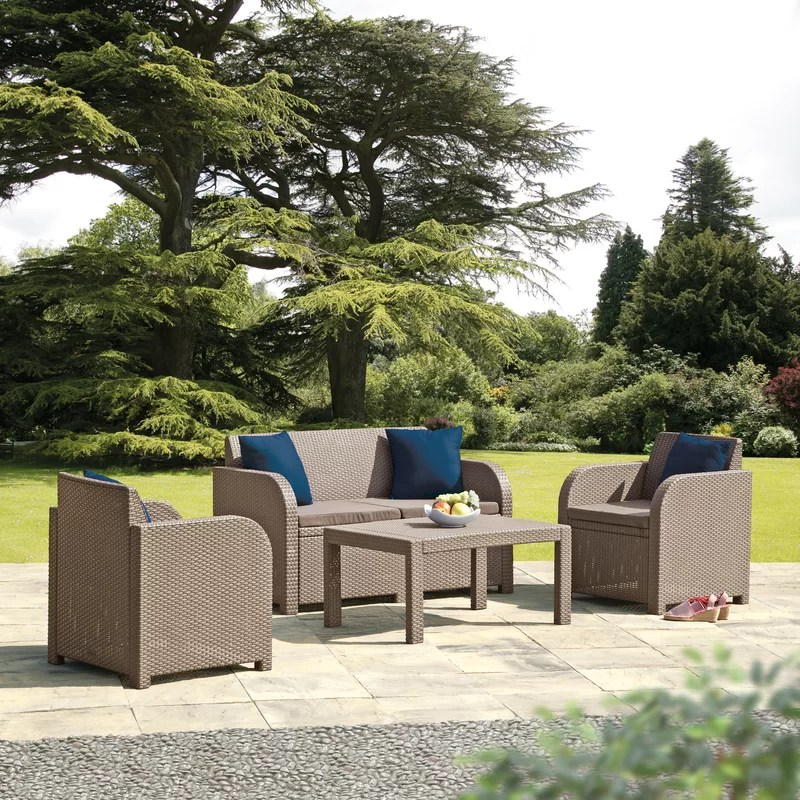 SunTime Outdoor Living Oklahoma 4 Piece Sofa Seating Group ... on Suntime Outdoor Living  id=89475