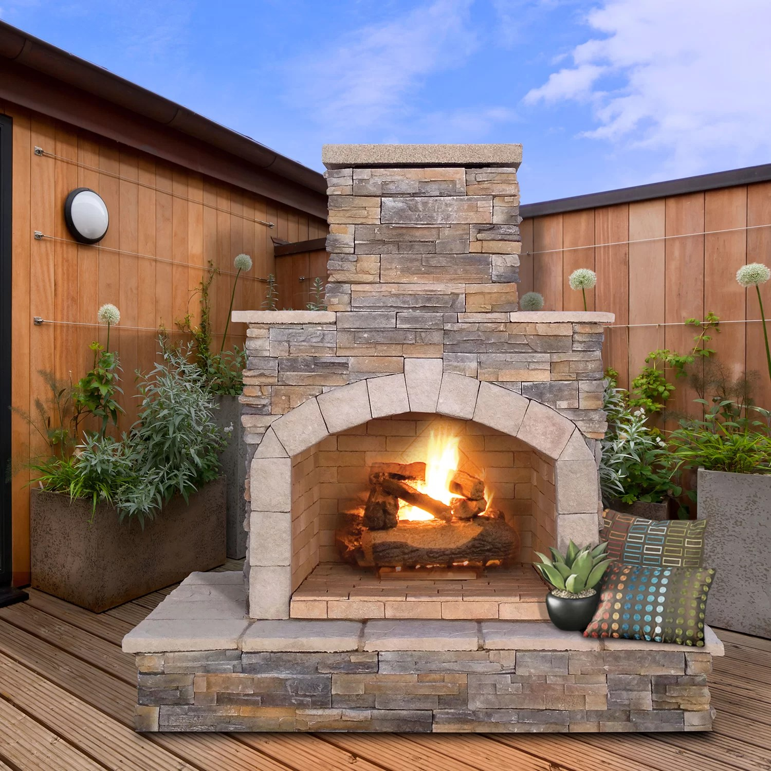 CalFlame Natural Stone Propane / Gas Outdoor Fireplace ... on Outdoor Gas Fireplace For Deck id=35305